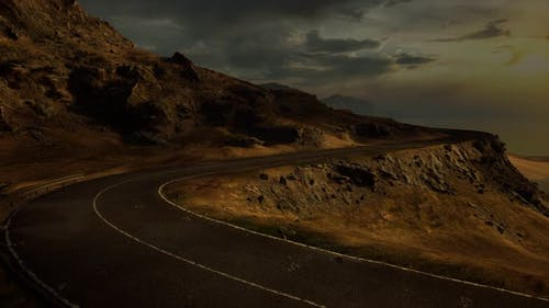 Mountain Landscapes in Scotland with Road