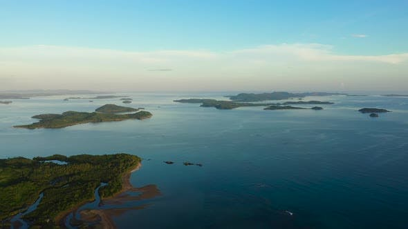 Cover Image for Seascape with Islands in the Early Morning, Aerial View.