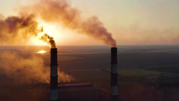 Thumbnail for Pipes with Smoke: Industrial Production. Thick Smoke Comes From Industrial Chemney. Concept Air