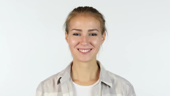 Cover Image for Portrait Of Smiling Young Beautiful White Girl Student , White background
