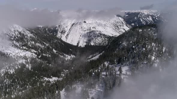 Thumbnail for Aerial Flying Through Fog Clouds To Reveal Hazy Snow Covered Mountain Forest