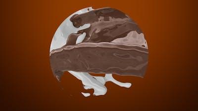 Mix Of Liquid Chocolate And Milk Splash In Sphere