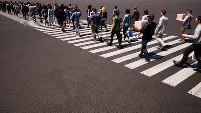 People Crosswalk Busy Street Zebra Crossing. Business People.
