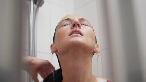 Close-up of a Woman in the Shower