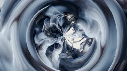 White and Black Cloud Paint Ink Drops in Water Slow Motion Art Background