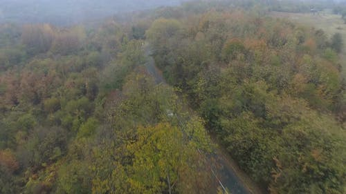 Aerial Drone View of Silver Car Driving Alone Misty Road in the Mountain. Forest in Fall