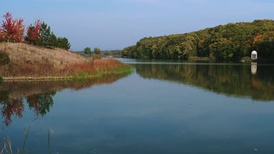 Picturesque Calm Landscape with River at Morning