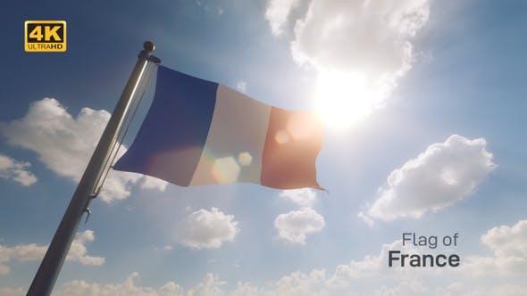 Thumbnail for France Flag on a Flagpole V2 - 4K