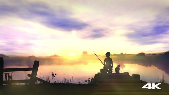 Thumbnail for The Boy Is Fishing At Sunrise 4K