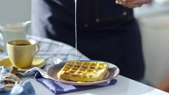 Thumbnail for Pouring Honey on Waffle
