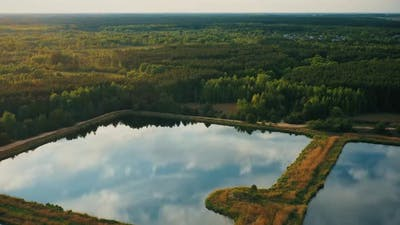 Aerial View Retention Basins Wet Pond Wet Detention Basin Or Stormwater Management Pond Is An