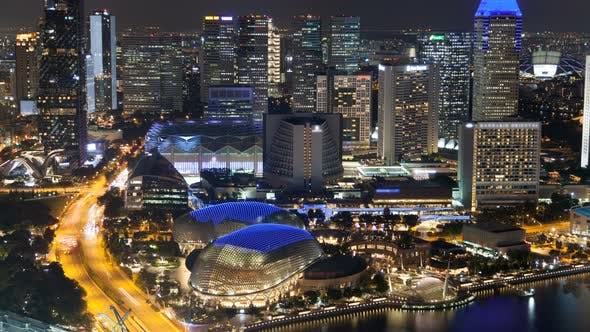 Thumbnail for Singapore Night Cityscape Business City Time-lapse