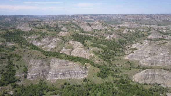 Thumbnail for Aerial of Theodore Roosevelt National Park North Dakota Badlands in Summer