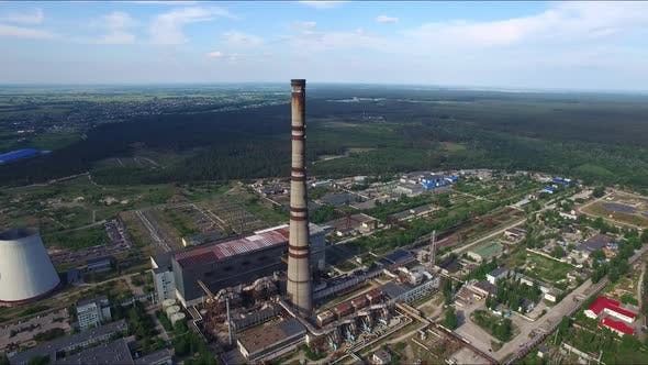 Thumbnail for Industrial Chimneys on Power Plant. Aerial View Chimneys on Chemical Factory