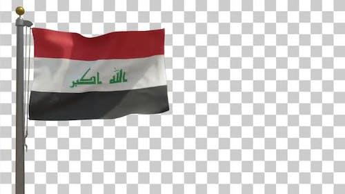 Irak-Flagge auf Fahnenmast mit Alphakanal