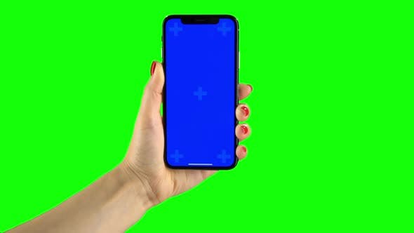Thumbnail for Holding Hand a Mobile Smartphone Blue Screen. Green Screen