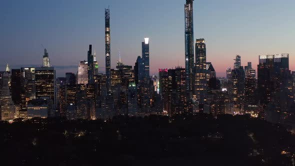 Thumbnail for Manhattan Skyline at Night with Flashing City Lights in New York City at Central Park