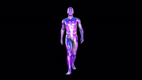 Retrofuturistic walking  metal human figure isolated alpha channel