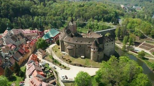 Turn Around Loket Castle and Small Czech Town, Near Karlovy Vary, Czech Republic