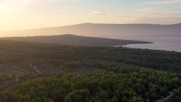 Aerial view on Croatian nature. Landscape during sunset.