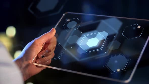 Thumbnail for Hand Holding Tablet Pc with Virtual Projections 11