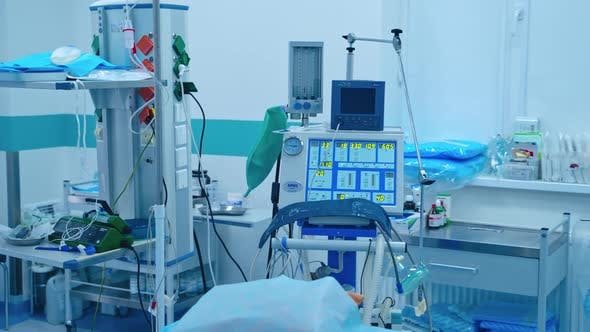 Anesthetic machine inside the modern operating room