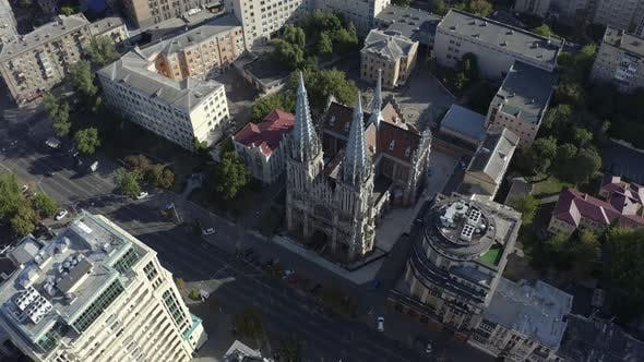 Drone Flying Over Roman Catholic Church of St. Nicholas Also a National House of Organ and Chamber