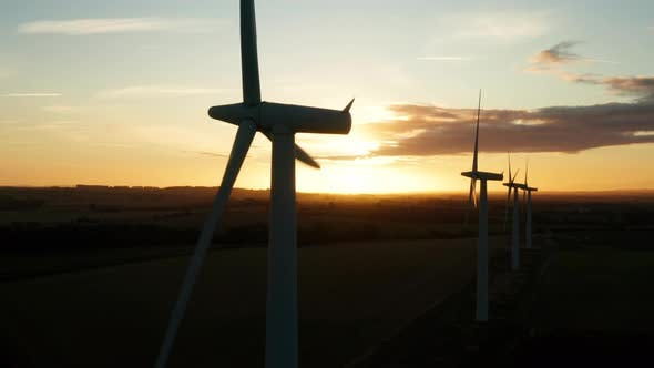 Thumbnail for Wind turbines at sunrise
