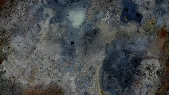 Drone Rising From Extreme Geothermal Terrain