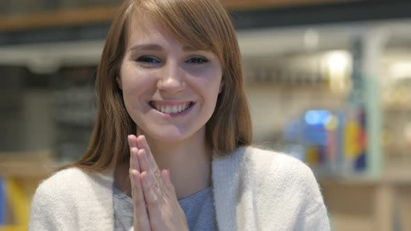 Thumbnail for Applauding, Headshot of Happy Young Woman Clapping in Cafe