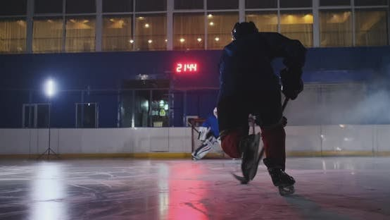 Thumbnail for Professional Hockey Player Attacks the Gate and Strikes, but the Goalkeeper Beats the Puck. A Goal