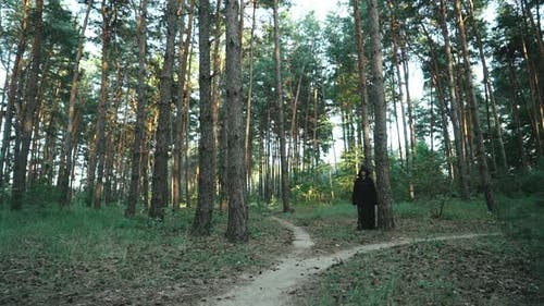 Böse Hexe Kapuzen-Kreatur Walking Across Forest.