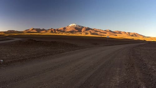 The Andes Panorama at sunset, road trip between Bolivia and Chile