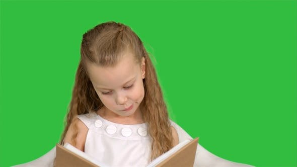 Cover Image for Pretty little girl sitting with book and reading on a Green