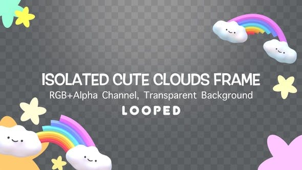 Isolated Cute Clouds Frame