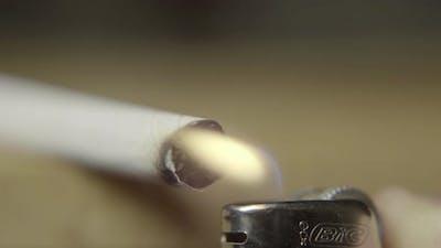 Smoking Cigarette Close-up. Macro.