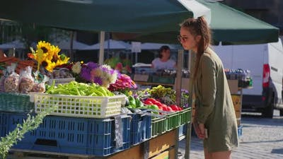 Young Woman at the Food Market