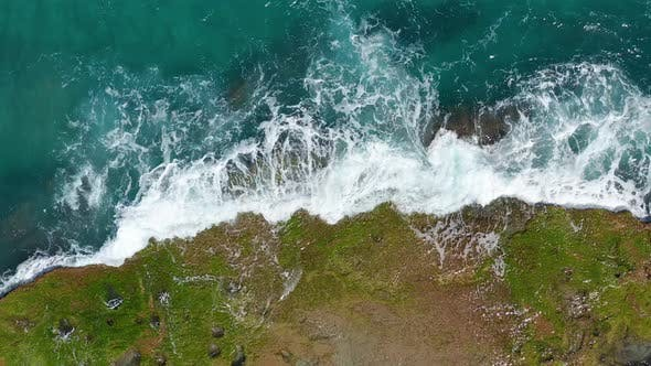 Thumbnail for Aerial View. Waves Crashing on Rocks