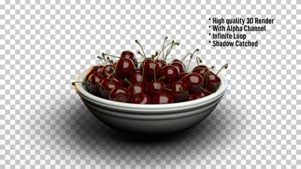 Thumbnail for Cherries in Bowl Rotating - Fruits Rotate
