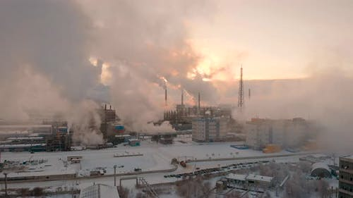 Giant Chemical Production, a Lot of Pipes Emit Pollutants Into the Atmosphere. Industrial Complex