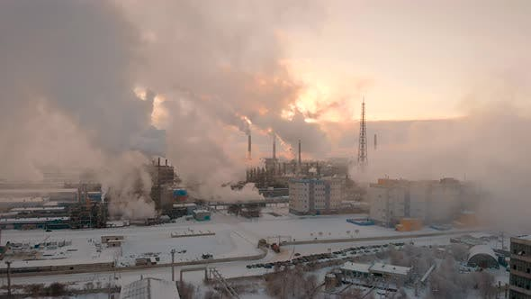Thumbnail for Giant Chemical Production, a Lot of Pipes Emit Pollutants Into the Atmosphere. Industrial Complex