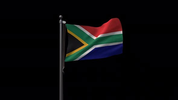 South Africa Flag On Flagpole With Alpha Channel  4K