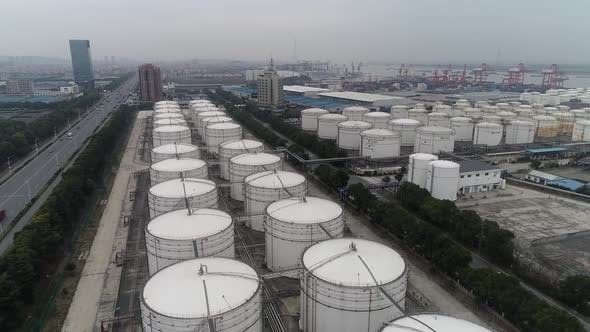 Aerial Video Of Chemical Storage Tanks Near The Port