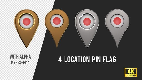 Japan Flag Location Pins Silver And Gold
