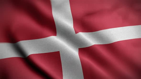 Denmark Flag Closeup Blowing In Wind
