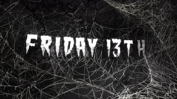 Animationstext Freitag 13. und mystischer Horrorhintergrund mit dunklem Spinnennetz, abstrakter Hintergrund