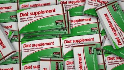 Diet supplement pills in packs distribution