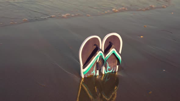 Flip Flops in the Sand of the Beach By the Sea