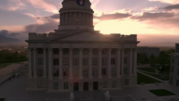 Thumbnail for Rising aerial view of the Utah State Capitol building during sunset