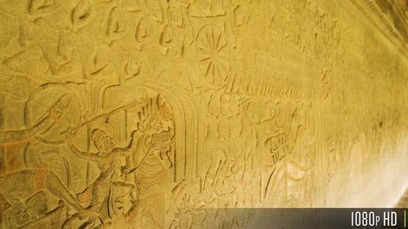 Thumbnail for Wand Flachrelief Detail Kunst in Angkor Wat, Siem Reap, Kambodscha